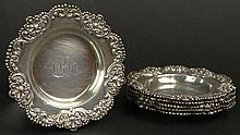 Set of 6 Vintage Alvin Sterling Silver Butter Pats. Signed with Alvin Logo, STERLING, 2278. Monogrammed or in otherwise good condition. Each Measures 3 Inches Diameter. Total Weight 5.61 Troy Ounces. Shipping $36.00