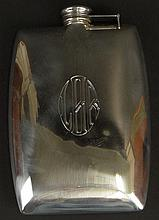 Vintage International Sterling Silver Flask. Signed with International Logo, 855, 1/2 Pint. Monogrammed CHB. A few very light dings or in otherwise Good Condition. Measures 6 Inches by 4 Inches and weighs 5 Troy ozs. Shipping $35.00