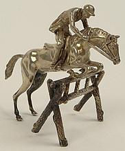 Antique 835 Silver Miniature in the Form of a Horse and Rider Jumping a Fence. Signed on Bottom 835. Good Condition. Measures 2-1/2 Inches Tall. Shipping $25.00