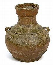 Han Dynasty (206 BCE-220 BC) Small Earthenware Hu Vessel with Lug Handles. Surface Wear and Cracks Consistent with Age Otherwise in Good Condition. Measures 3-1/2 Inches Tall. The Gallery Has Been Advised Provenance: ex-Shepps Collection, Donated to