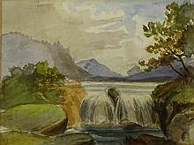 """Charles Stuart Forbes, American (1856 - 1926) Watercolor """"Waterfall"""" Signed Lower Right CF Monogram. Light Toning From Age or in Good Condition. Measures 7-1/4 Inches by 9-1/2 Inches. Frame Measures 14-3/4 Inches by 16-3/4 Inches. Shipping $75.00"""