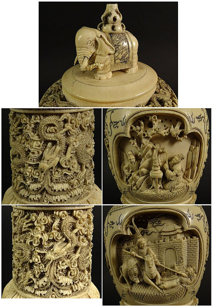 Antique Chinese carved stone scene
