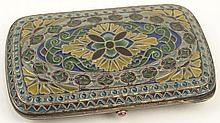Plique-A-Jour Enamel and Gilt Silver Card Case. Decorated in Multi-Color Translucent Enamel Floral and Geometric Patterns. Very Good Condition. Hallmarked and Stamped 925. Measures 3-3/4 Inches Long by 2-1/4 Inches Wide. Shipping $26.00