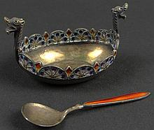 Plique-A-Jour Enamel and Silver Salt Boat in the Form of a Viking Ship. Decorated in Multi-Color Translucent Enamel Floral and Geometric Patterns. Also Included is a Silver and Enamel Salt Spoon. Each Piece Hallmarked and Stamped 925. Very Good