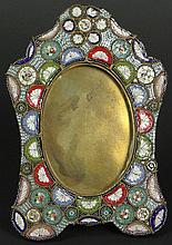 Early 20th Century Italian Millefiore Micro Mosaic and Gilt Bronze Easel Photo Frame. Signed Italy. Good Condition or Better. Measures 5-3/8 Inches Tall and 3-3/4 Inches Wide. Shipping $38.00