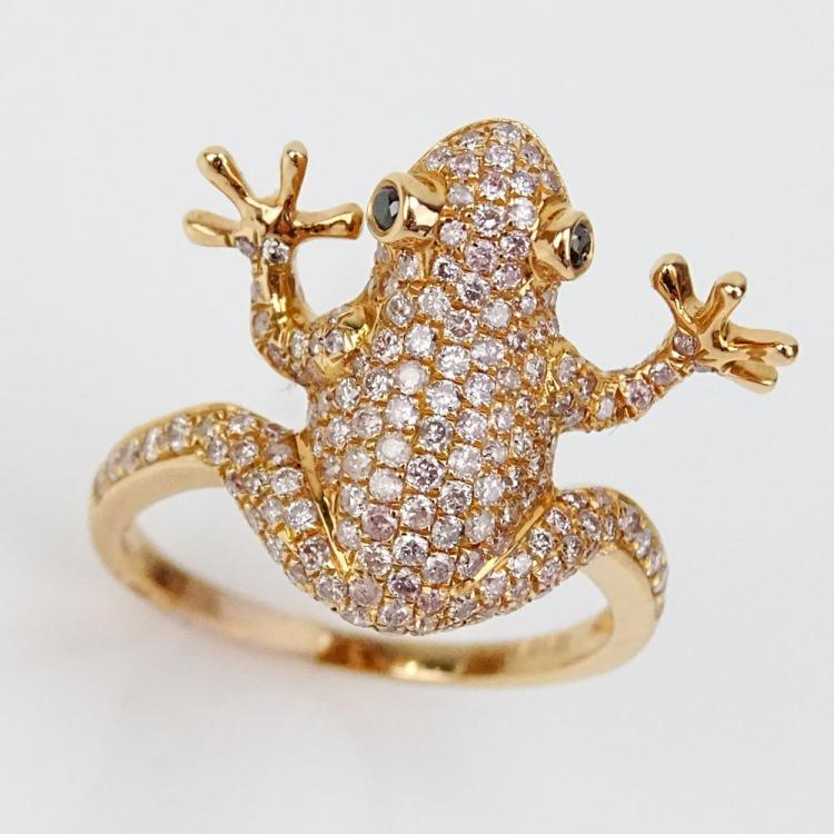 1.01 Carat Natural Pink Diamond and 18 Karat Rose Gold Frog Ring with Black Diamond Eyes