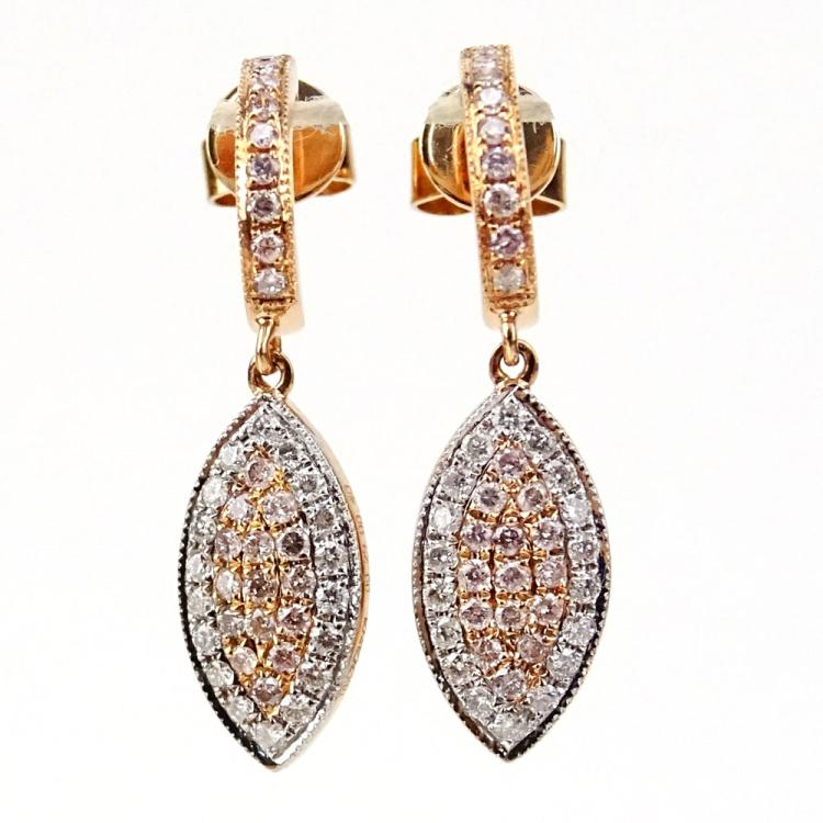 .40 Carat Natural Pink Diamond, .29 Carat Round Cut Diamond and 18 Karat Rose Gold Earrings