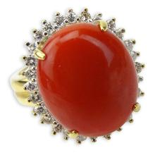Vintage Cabochon Red Coral, .59 Carat Round Brilliant Cut Diamond and 18 Karat Yellow Gold Ring