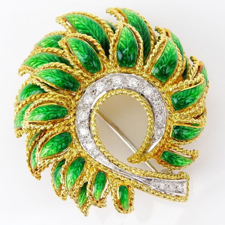 Vintage 18 Karat Yellow Gold Enamel and Round Brilliant Cut Diamond Brooch
