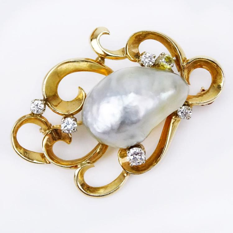 Vintage 14 Karat Yellow Gold, Large Baroque Pearl and Round Brilliant Cut Diamond Pendant/Brooch