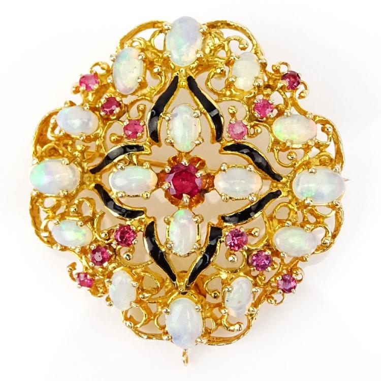 Vintage 18 Karat Yellow Gold, Opal, Ruby and Enamel Pendant/Brooch
