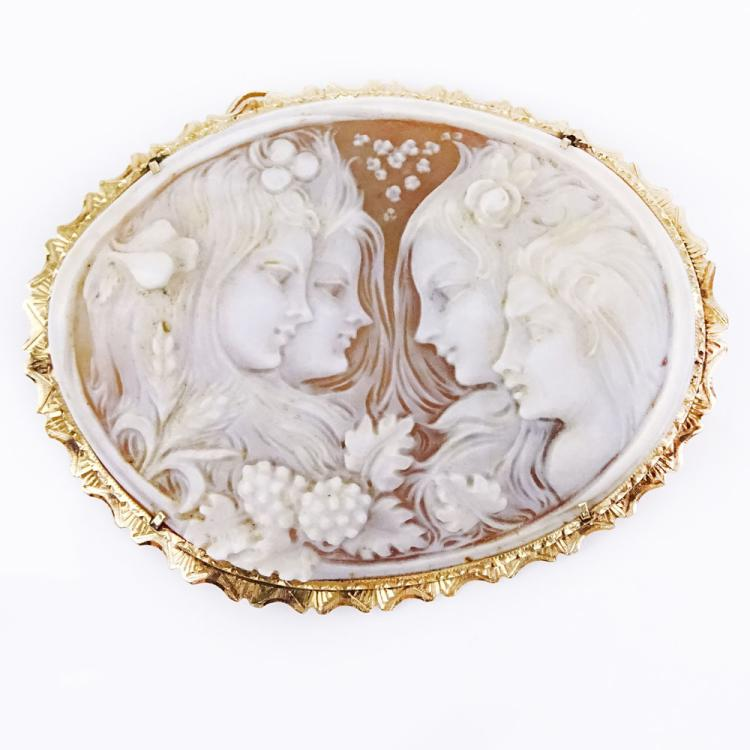 Large Antique Art Nouveau Finely Carved Shell Cameo and 14 Karat Yellow Gold Pendant/Brooch