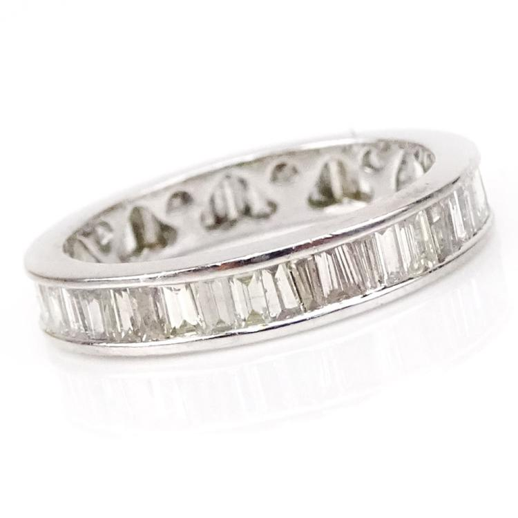 2.44 Carat Baguette Cut Diamond and Platinum Eternity Band