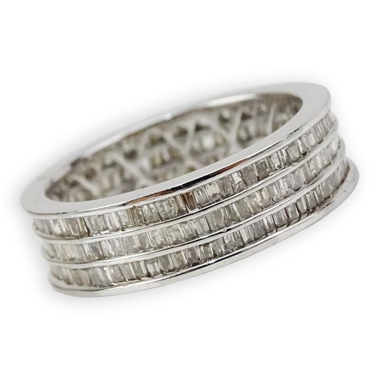 1.91 Carat Channel Set Baguette Cut Diamond and 18 Karat White Gold Band