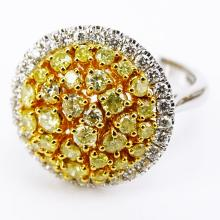 .91 Carat Natural Fancy Yellow Diamond, .35 Carat Round Diamonds and 18 Karat White Gold Dome Ring