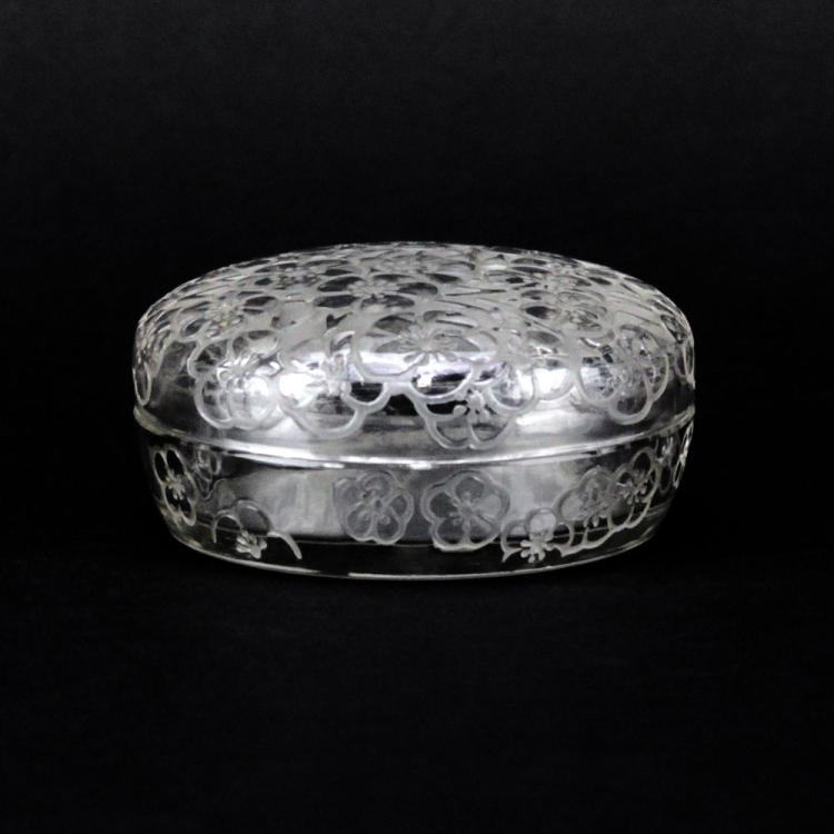 R. Lalique Crystal Le Lys Powder Box