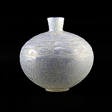 Circa 1923 René Lalique, French (1860-1945) Circa 1923 Lièvres' Clear, Frosted and Opalescent Glass Vase with Frieze of Running Hares