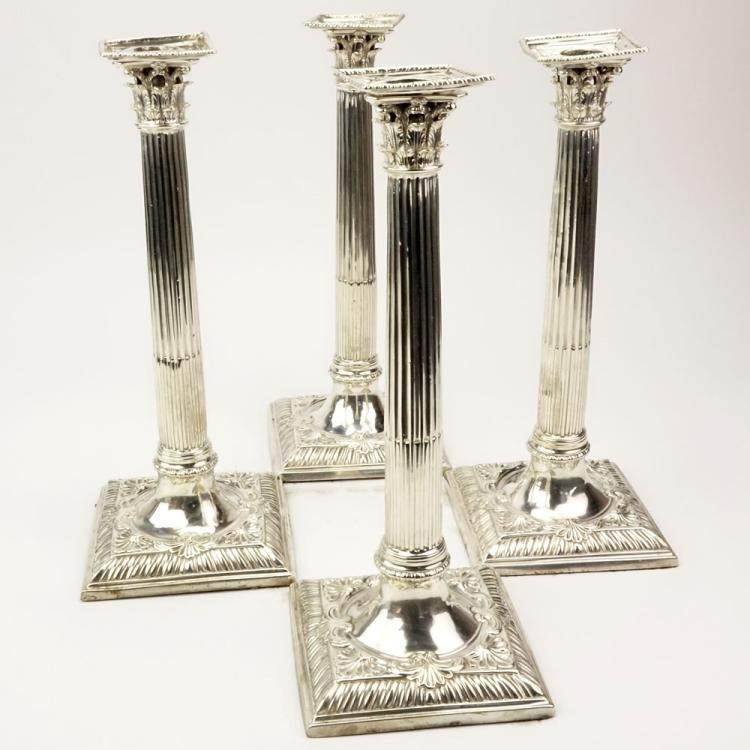Set of Four (4) 18th Century English Silver Corinthian Column Candlesticks