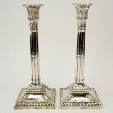 Pair of 18th Century English Silver Weighted Candlesticks