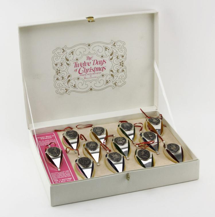 Twelve (12) International Silver, The Twelve Days of Christmas, Sterling Christmas Ornaments in Original Box