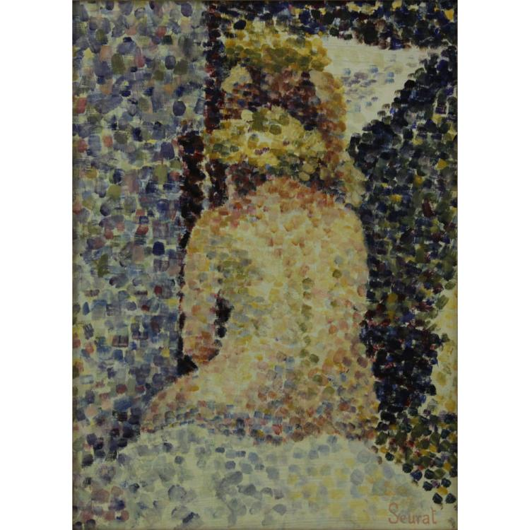 20th Century Oil on Cardboard, Nude