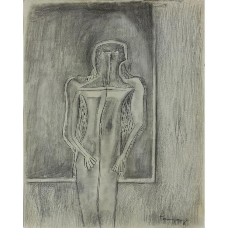 Attributed to: Rufino Tamayo, Mexican (1899 -1991) Charcoal on paper
