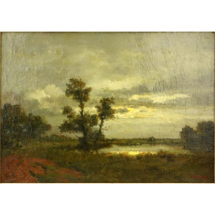 19th Century Barbizon School Oil on Canvas, Moonlit Landscape