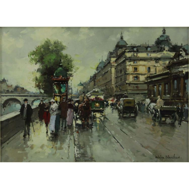 Antoine Blanchard, French (1910-1988) Oil on Canvas, Paris Street Scene