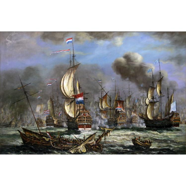 Palace Size Oil on Board, 1652-1674 Anglo-Dutch Wars Naval Battle Scene