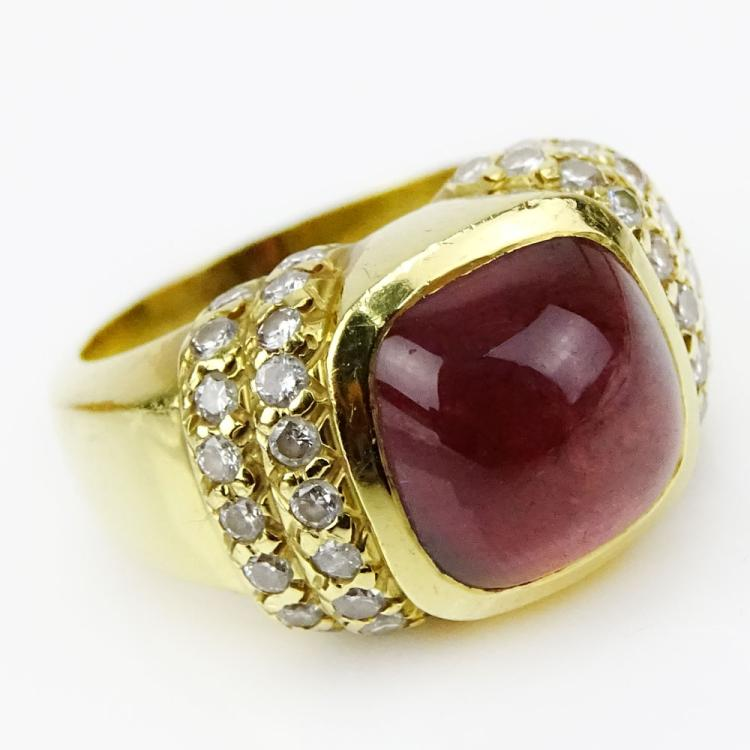 Vintage Cushion Cut Rhodolite, .80 Carat Pave Set Round Cut Diamond and 18 Karat Yellow Gold Ring