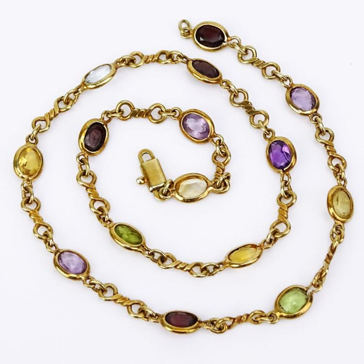 Vintage Italian Multi Gemstone and 14 Karat Yellow Gold Necklace.