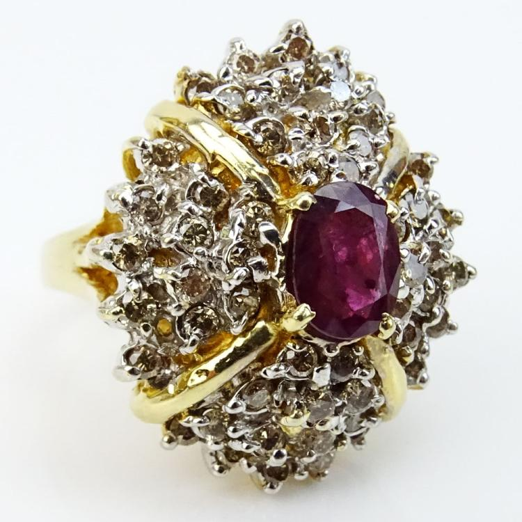 Large Lady's Vintage Oval Cut Ruby, Diamond and 14 Karat Yellow Gold Cluster Ring
