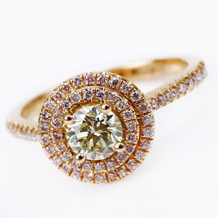 .28 Carat Round Cut Natural Pink Diamond, .50 Carat Round Cut Diamond and 18 Karat Rose Gold Ring