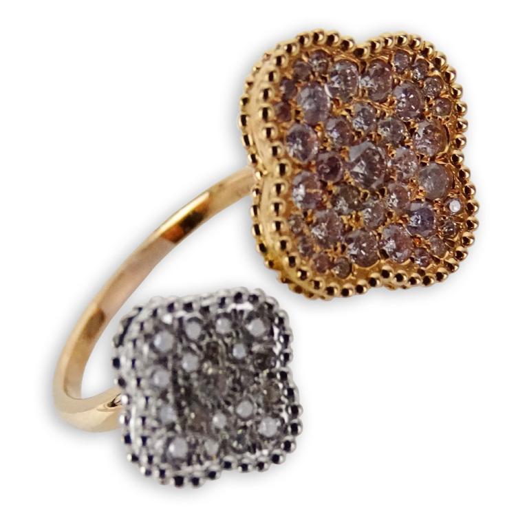 .71 Carat Pave Set Natural Fancy Pink Diamond, .18 Carat Pave Set Round Set Diamond and 18 Karat Rose and White Gold Ring