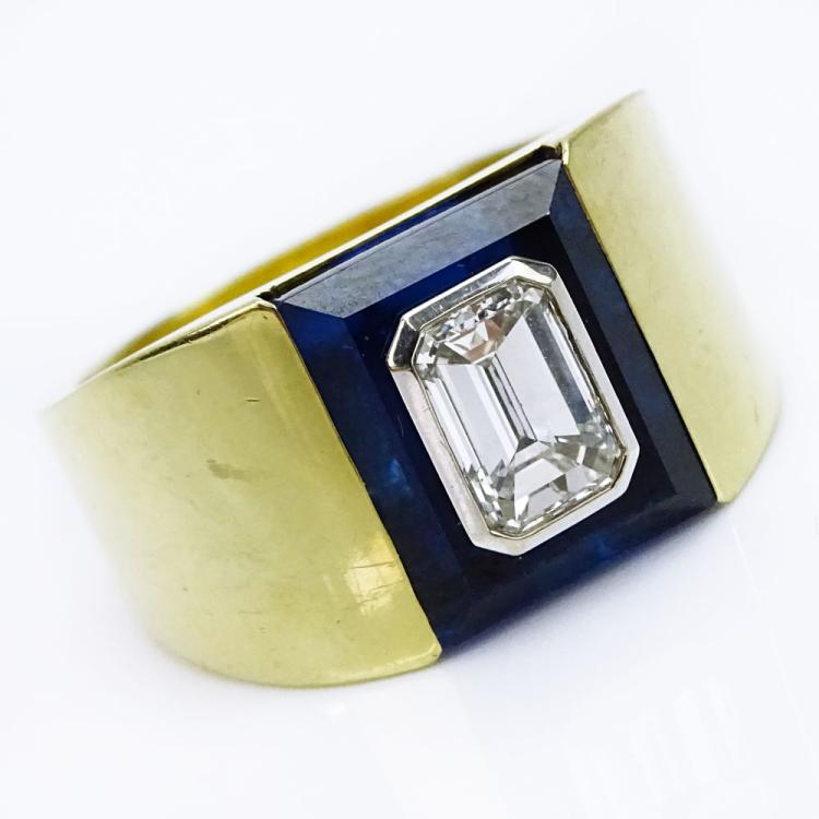Men's Vintage Approx. 1.75 Carat Emerald Cut Diamond and Heavy 18 Karat Yellow Gold Ring