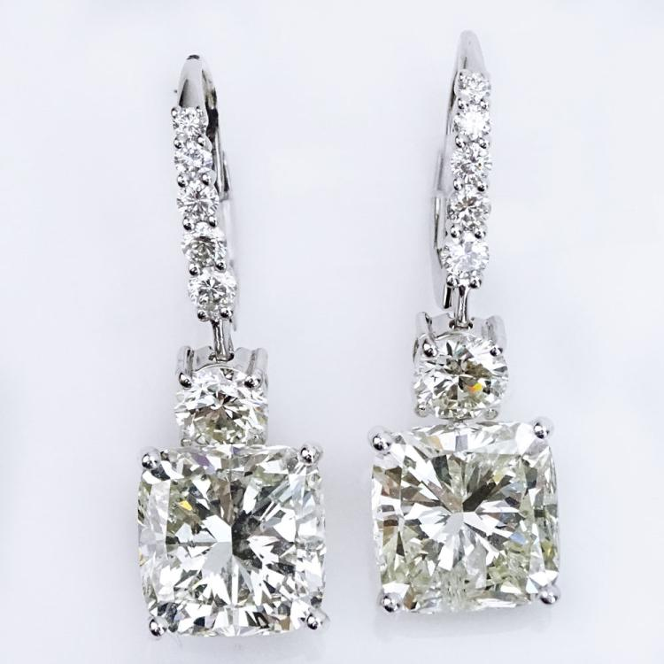 Stunning Pair of Approx. 10.85 Carat Cushion Cut Diamond and 18 Karat White Gold Pendant Earrings