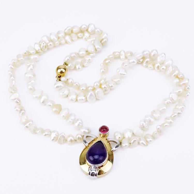 Vintage Double Strand Baroque Pearl Necklace with 14 Karat Yellow Gold, Cabochon Amethyst and Cabochon Tourmaline Pendant