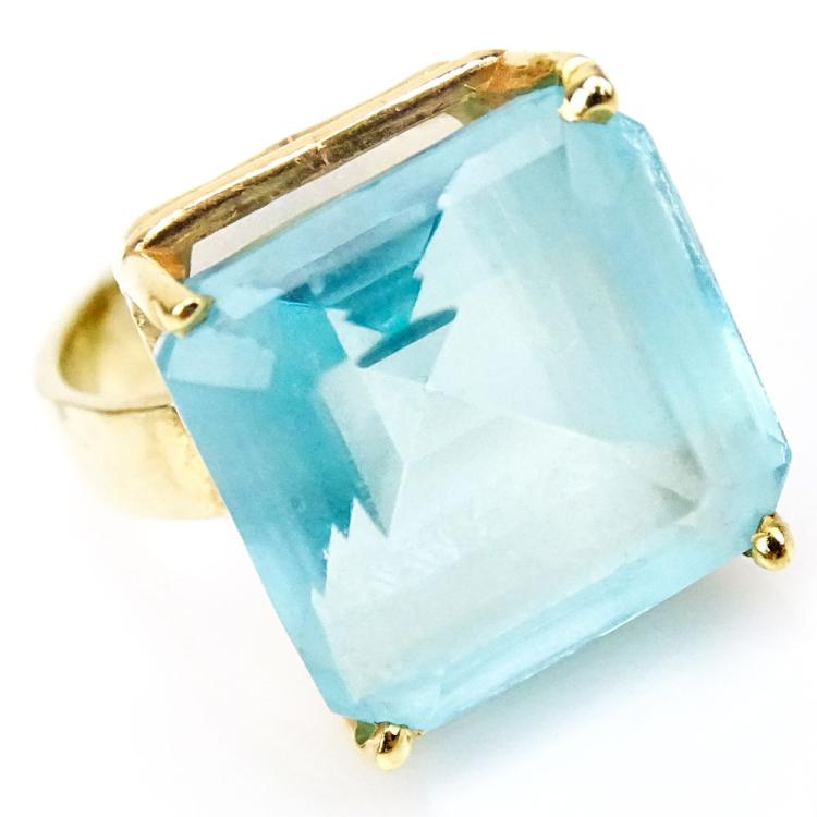 Vintage Square Cut Blue Topaz and 14 Karat Yellow Gold Ring