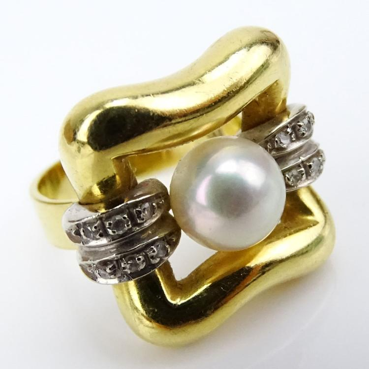 Vintage Italian 18 Karat Yellow Gold, Pearl and Diamond Ring