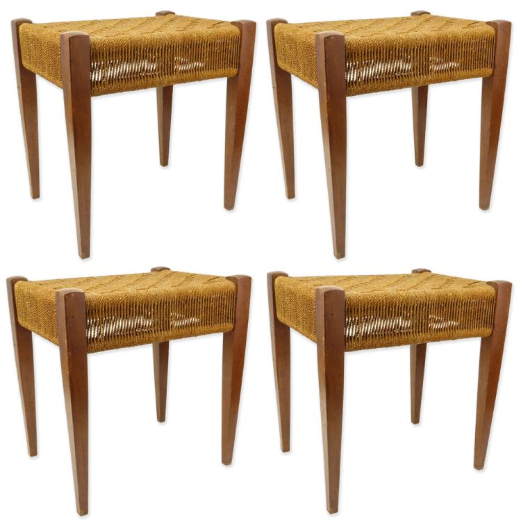 Four (4) Mid Century Danish Modern Woven Rope and Wood Stools