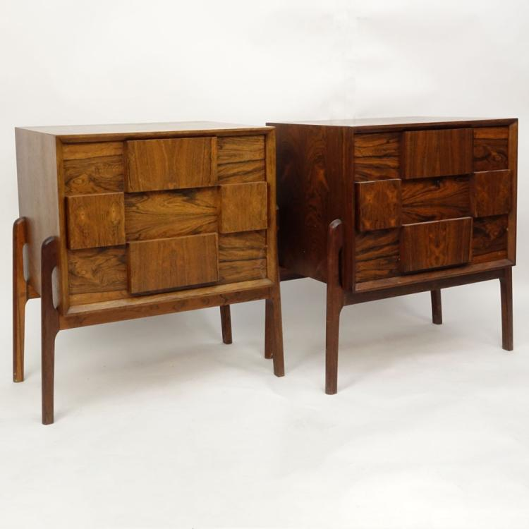 Pair Mid Century Modern Danish Rosewood End Tables