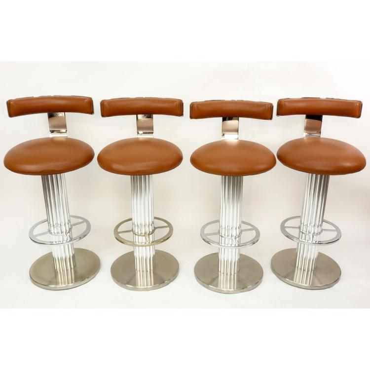 Four Circa 1980s Leisure Design, Mount Kisco, NY Bright and Matte Chromed Steel Barstools