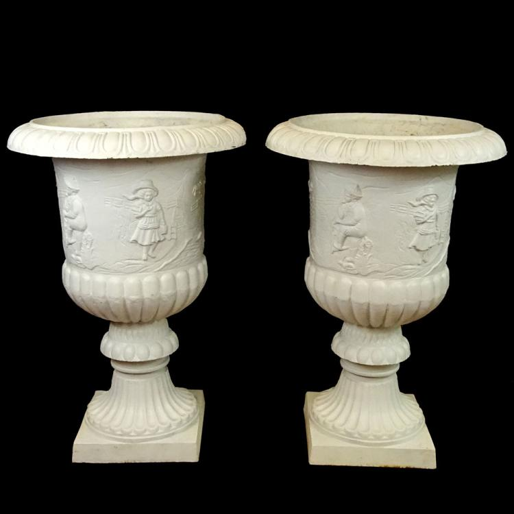 Pair of Monumental Early to Mid 20th Century Cast Iron Garden Urns