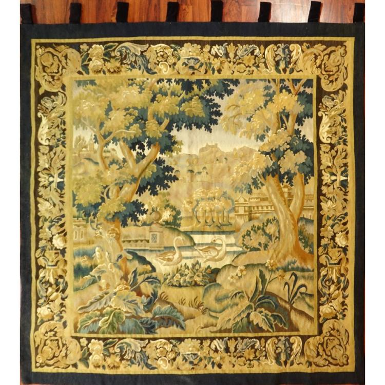 Semi Antique Hand Woven Wool Aubusson Tapestry