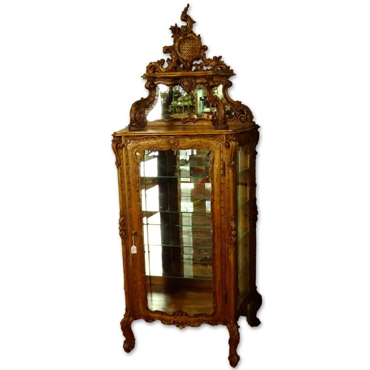 French Style Heavily Carved Beveled Glass Curio Cabinet with Mirrored Top Backsplash
