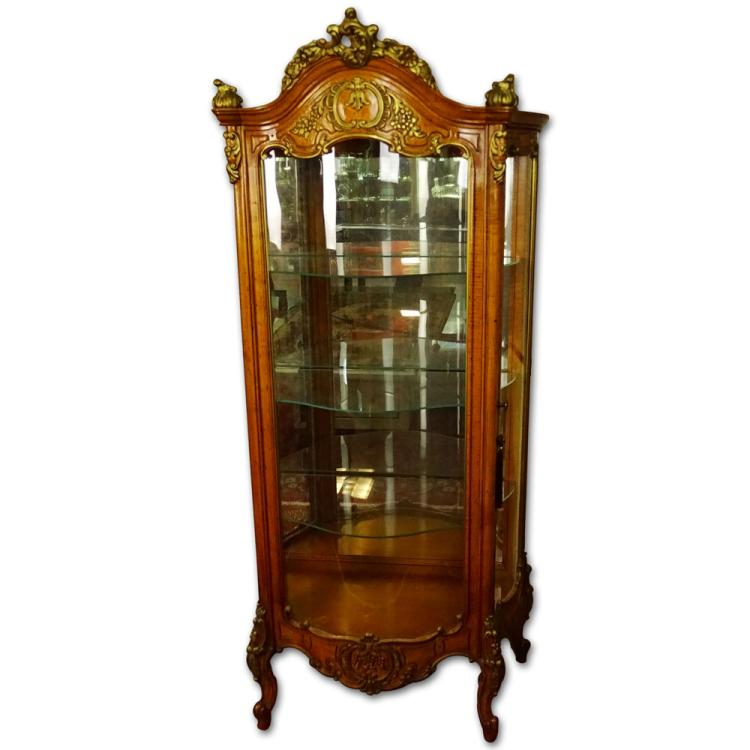 Mid-Century Modern Italian Carved and Painted Curved Glass Curio Cabinet