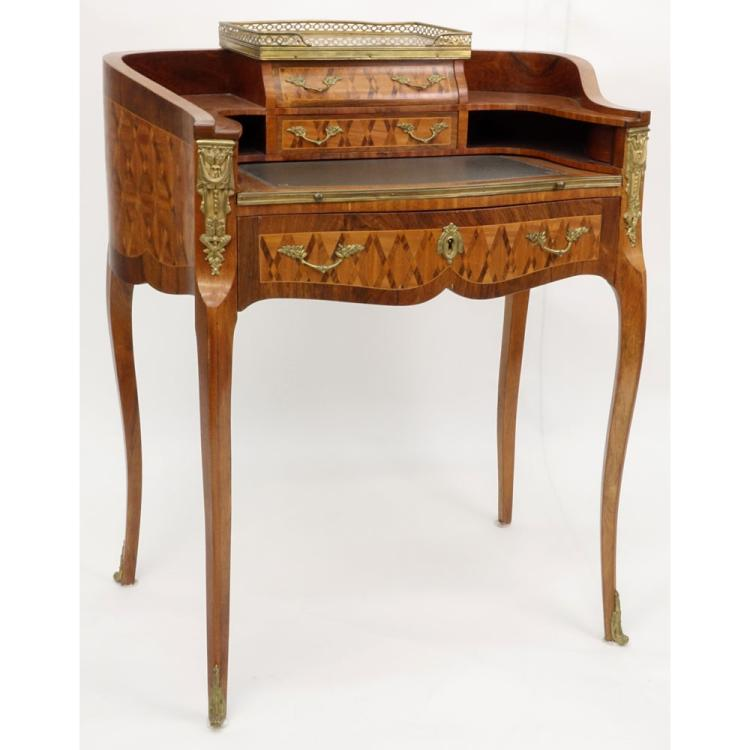 Antique French Bronze Mounted Rosewood Marquetry Inlay 3 Drawer Leather Top Kidney Shaped Writing Desk