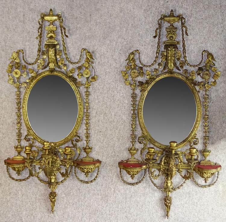 Large Pair of Good 19th Century English Adam style Carved and Gessoed Giltwood Three Light Girandole Mirrors with Beveled glass