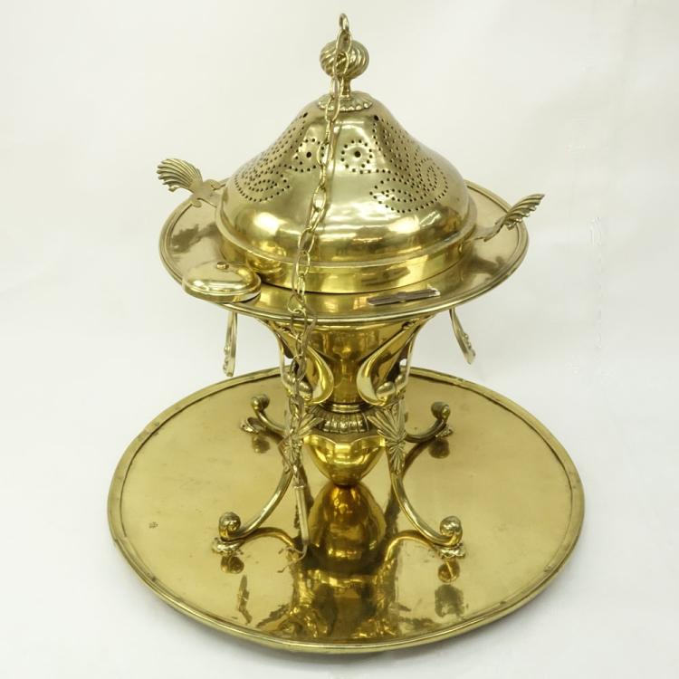 Monumental Antique Turkish Ottoman Brass Brazier with Large Brass Platform