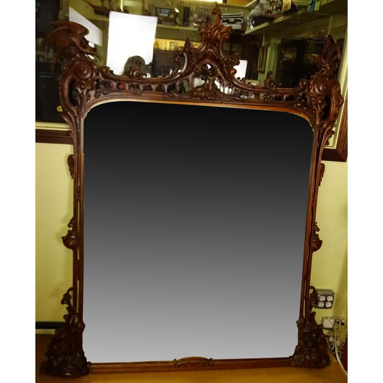 Large Renaissance style Carved Wood Beveled Wall Mirror